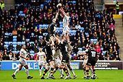 Exeter Chiefs win line out ball during the Aviva Premiership match between Wasps and Exeter Chiefs at the Ricoh Arena, Coventry, England on 18 February 2018. Picture by Dennis Goodwin.
