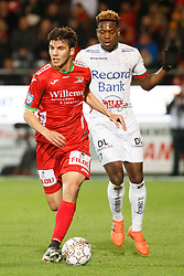 November 5, 2017 - Oostende, BELGIUM - Essevee's Aliko Bala and Oostende's Aleksandar Bjelica fight for the ball during the Jupiler Pro League match between KV Oostende and Zulte Waregem, in Oostende, Sunday 05 November 2017, on the fourteenth day of the Jupiler Pro League, the Belgian soccer championship season 2017-2018. BELGA PHOTO KURT DESPLENTER (Credit Image: © Kurt Desplenter/Belga via ZUMA Press)