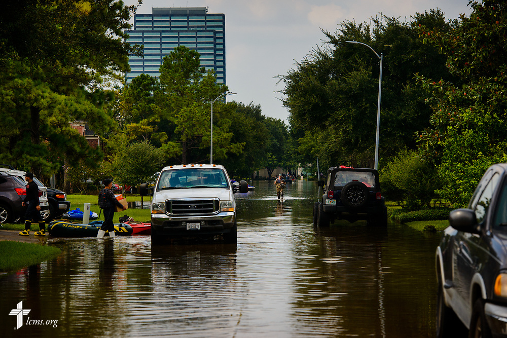 A flooded neighborhood from Hurricane Harvey on Monday, Sept. 4, 2017, in Houston. LCMS Communications/Erik M. Lunsford