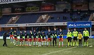 FODBOLD: FC Helsingør's spillere klar til kampen i ALKA Superligaen mellem Randers FC og FC Helsingør den 28. februar 2018 på BioNutria Park Randers. Foto: Claus Birch.