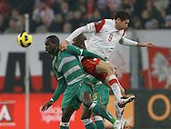 POLAND, Poznan : Cheick Tiote of Ivory Coast vies for the ball with Robert Lewandowski of Poland (R) during their international friendly football match in Poznan on November 17, 2010. Fot: / Piotr Hawalej/WROFOTO