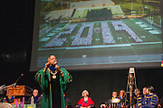 President Roderick McDavis speaks at the First Year Student Convocation. Photo by Ben Siegel
