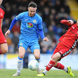 TELFORD COPYRIGHT MIKE SHERIDAN 16/2/2019 - James McQuilkin of AFC Telford slides in on Matthew Warburton of Stockport (CAPTION CORRECTED) during the Vanarama Conference North fixture between Stockport County and AFC Telford United at Edgeley Park