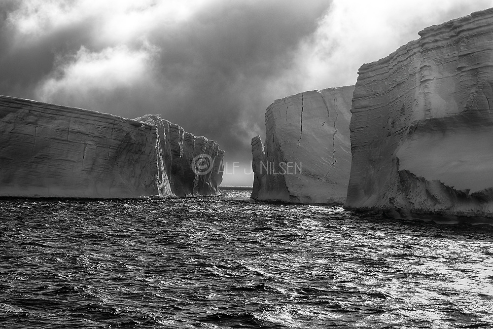 Huge, table-shaped icebergs in the Antarctic Sound close to Brown Bluff, Antarctic Peninsula