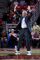 20 January 2017:  Greg Lansing screams towards the floor after a whistle is blown during an NCAA Missouri Valley Conference mens basketball game Where the Purple Aces of Evansville lost to the Illinois State Redbirds 75-73 in Redbird Arena, Normal IL