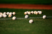 Feb 16, 2011; Port St. Lucie, FL, USA; Baseballs sit on the infield during New York Mets spring training at Digital Domain Park.