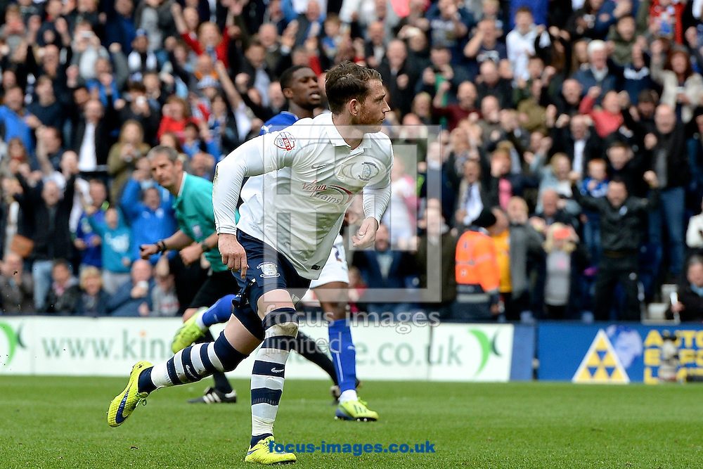 Joe Garner of Preston North End celebrates scoring a penalty to make it Preston North End 2 Chesterfield 0 during the Sky Bet League 1 playoff match at Deepdale, Preston<br /> Picture by Ian Wadkins/Focus Images Ltd +44 7877 568959<br /> 10/05/2015