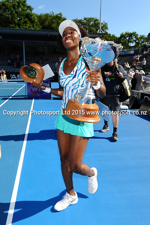 Venus Williams of the USA after winning Singles Finals match against Danish player Caroline Wozniacki at the ASB Classic Women's International. ASB Tennis Centre, Auckland, New Zealand. Saturday 10 January 2015. Copyright photo: Chris Symes/www.photosport.co.nz