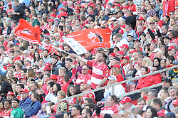 28-07-18 Emirates Airline Park, Johannesburg. Super Rugby semi-final Emirates Lions vs NSW Waratahs. 2nd half. Lions fans celebrate a try.<br />  Picture: Karen Sandison/African News Agency (ANA)