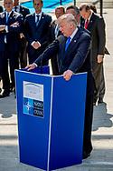 BRUSSELS - U.S. President Donald Trump delivers remarks at the start of the NATO summit at their new headquarters in Brussels, Belgium, May 25, 2017. ROBIN UTRECHT<br /> president trump van de verenigde staten van america . mark rutte <br /> BRUSSEL - Amerikaanse president Donald Trump levert aan het begin van de NAVO-top op zijn nieuwe hoofdkantoor te Brussel, 25 mei 2017, opmerkingen. ROBIN UTRECHT<br /> President tromp van de Verenigde Staten van Amerika. Mark rutte