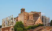 The Roman Forum, a rectangular plaza in the centre of Rome, Italy. Originally a marketplace, it became the centre of Roman public life. Now a fragmented and sprawling collection of ruins.