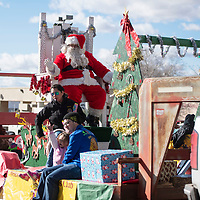 Santa Claus at the Christmas parade downtown, Saturday Nov. 1 in Gallup as part of the Red Rock Balloon Rally this weekend.