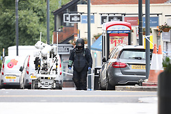 © Licensed to London News Pictures. 20/09/2017. Leeds UK. An Army bomb disposal unit is carrying out searches in Leeds City centre after a suspicious package was found in the Kirkgate market in the city centre. Photo credit: Andrew McCaren/LNP