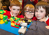 Conchur Deely Alan Hollan and Eanna Nevin with their  project at the Jnr Lego League organized through schools by the Galway Education Centre at The Radisson blu hotel<br />  Photo: Andrew Downes,  xposure