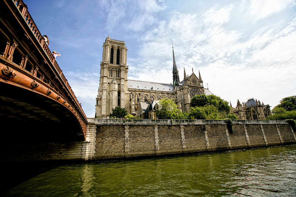 Pont Notre Dame, and the Notre Dame Cathedral, Paris France.