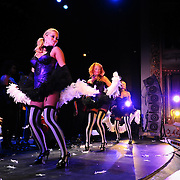 """""""Leggy dancin' dame Shady Sadie Sinclair"""" (foreground) performs with Vaud and the Villains at The Music Hall in Portsmouth, NH. July 2012."""
