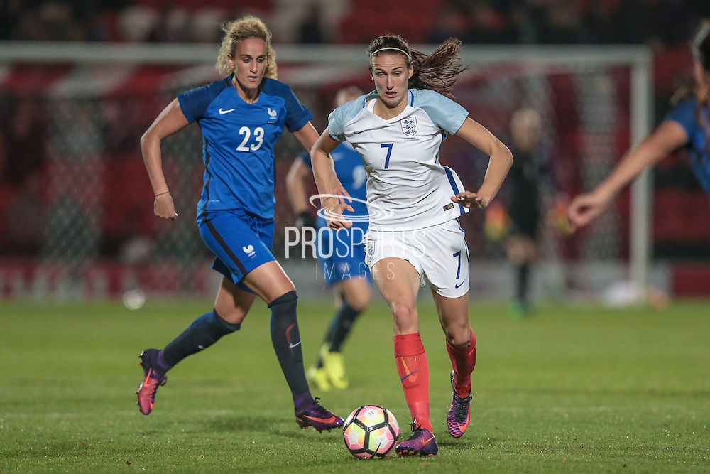 Jill Scott (England) runs with the ball during the International Friendly match between England Women and France Women at the Keepmoat Stadium, Doncaster, England on 21 October 2016. Photo by Mark P Doherty.