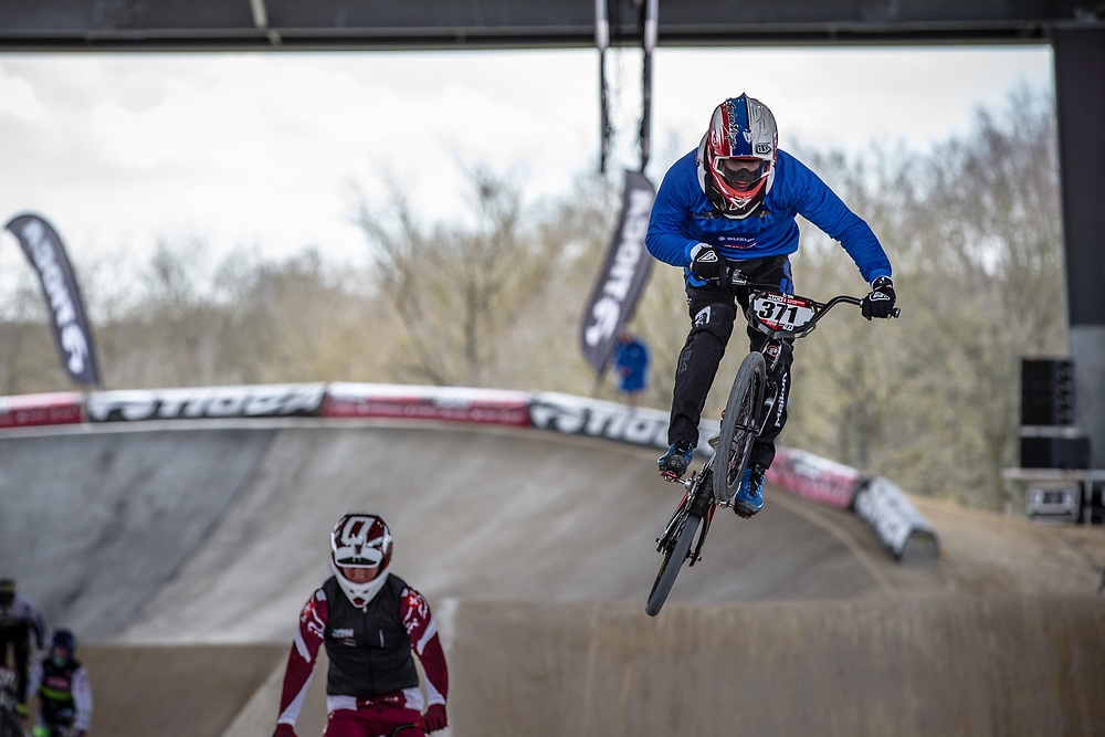 #371 (DAL LAGO Andrea) ITA at Round 2 of the 2018 UCI BMX Superscross World Cup in Saint-Quentin-En-Yvelines, France.