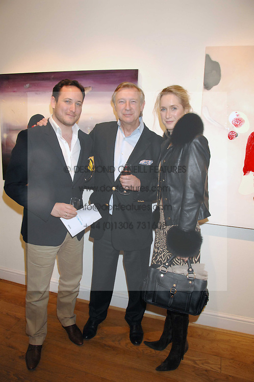 Left to right, SIMON LIEBEL, BRODERICK MUNRO-WILSON and his daughter EMMA MUNRO-WILSON at a private view of artist Hsiao-Mei Lin's paintings held at the Adam gallery, 24 Cork Street, London on 28th April 2008.<br /><br />NON EXCLUSIVE - WORLD RIGHTS