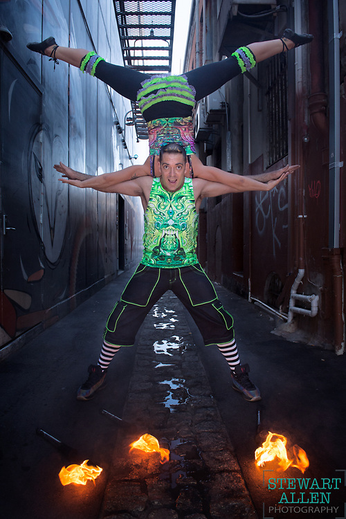 3. Best News Feature.<br /> Stewart Allen.<br /> The Sunday Times.<br /> Circus performers Jacob and Sophie McGrath show their skills in a Perth laneway.
