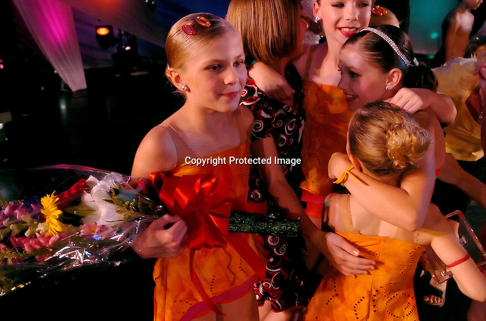 Whitney Schmanski from the Dance Club of Orem, Utah celebrates winning the New York Dance Alliance's National Mini Critics' Choice award at the New York Dance Alliance's national competition finale July 10, 2005 in New York City. <br /> Photo by Keith Bedford for