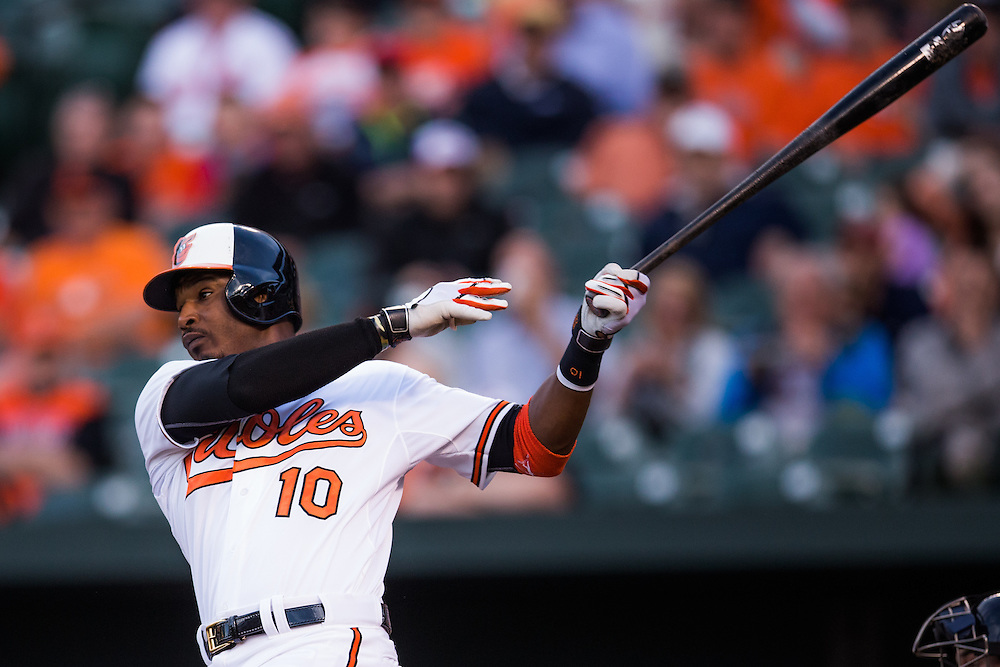 BALTIMORE, MD - MAY 20:  Adam Jones #10 of the Baltimore Orioles bats during the game against the Seattle Mariners at Camden Yards on May 20, 2015 in Baltimore, Maryland. (Photo by Rob Tringali) *** Local Caption *** Adam Jones