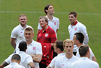 Football - Euro 2012 - England Training<br /> Wayne Rooney, Andy Carroll and Steven Gerrard chat to England manager Roy Hodgson during their walkabout on the pitch of the Donbass Arena, Donetsk, Ukraine