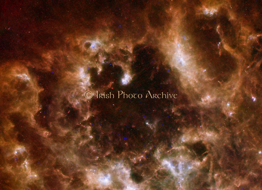 This image shows the Large Magellanic Cloud galaxy in infrared light as seen by the Herschel Space Observatory.
