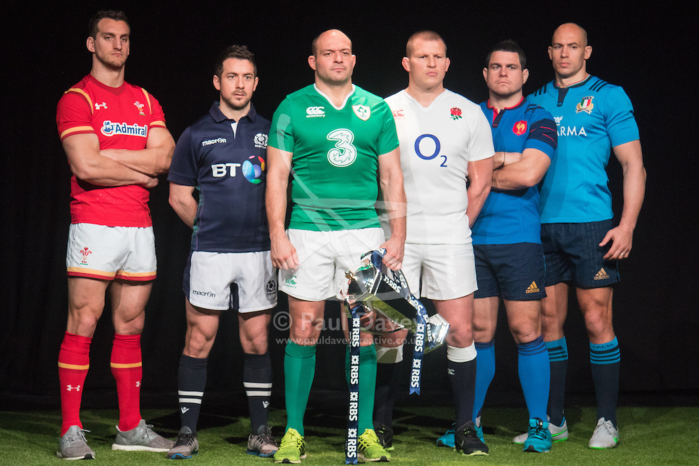 Hurlingham Club, London, January 27th 2016. Captains Sam Warburton - Wales, Greig Laidlaw - Scotland, Rory Best - Ireland, Dylan Hartley - England,  Guilhem Guirado - France and Sergio Parisse line up at the launch of the RBS Six Nations Rugby Tornament. ///FOR LICENCING CONTACT: paul@pauldaveycreative.co.uk TEL:+44 (0) 7966 016 296 or +44 (0) 20 8969 6875. ©2015 Paul R Davey. All rights reserved.
