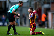 Bradford City midfielder Romain Vincelot (6) feels a knock to his throat during the EFL Sky Bet League 1 match between Bradford City and Doncaster Rovers at the Northern Commercials Stadium, Bradford, England on 30 September 2017. Photo by Simon Davies.