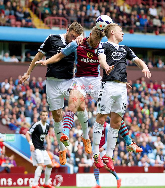 BIRMINGHAM, ENGLAND - Saturday, April 19, 2014: Aston Villa's Nathan Baker in action against Southampton during the Premiership match at Villa Park. (Pic by David Rawcliffe/Propaganda)