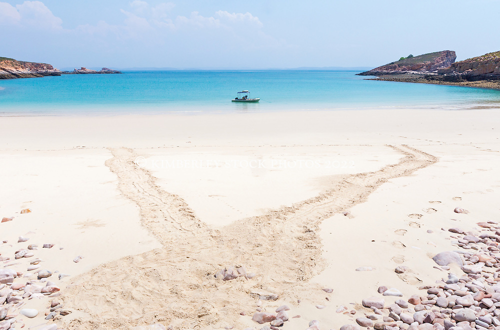 A fresh set of turtle tracks on a beach on Macleay Island on the Kimberley coast.