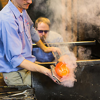 Public Relations photo of glass blowers from The Glass Shop in Liberty Craftworks at Greenfield Village.