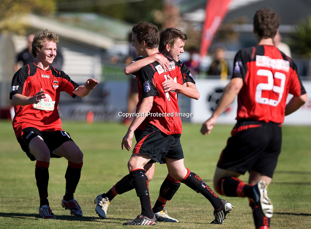 Canterbury United players Thomas Stanton and Anthony Jones celebrate the first goal with Andreas Wilson and Jordan Swaney (23) running in. Lion Foundation Youth League Final, Canterbury United v Waitakere United, English Park, Christchurch, Sunday 11 April 2010. Photo : Joseph Johnson/PHOTOSPORT