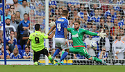 Brighton striker, Sam Baldock goes close during the Sky Bet Championship match between Ipswich Town and Brighton and Hove Albion at Portman Road, Ipswich, England on 29 August 2015.