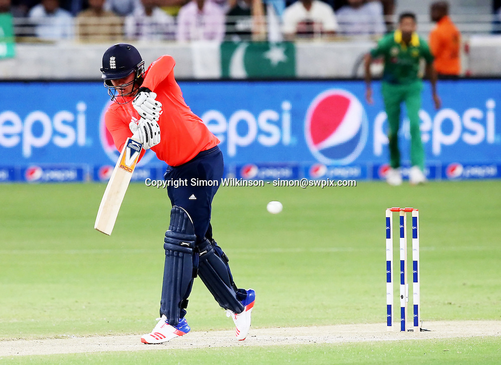 PICTURE BY MARK GREEN/SWPIX.COM  Pakistan v England 1st T20, Dubai Internayional Stadium, UAE, 26/11/15 <br /> England's Jason Roy couldn't repeat his ODI heroics and was out for only 9,  caughtd Imran Khan bowled Sohail Tanvir