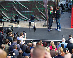 LIVERPOOL, ENGLAND - Thursday, April 10, 2014: Robbie Fowler and presenter Peter McDowell on stage at the launch of the new Liverpool FC Warrior home kit for 2014/2015 at the Liverpool One shopping centre. (Pic by David Rawcliffe/Propaganda)
