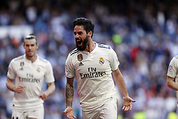 March 16, 2019 - Madrid, Madrid, Spain - Real Madrid CF's Isco Alarcon seen celebrating after scoring a goal during the Spanish La Liga match round 28 between Real Madrid and RC Celta Vigo at the Santiago Bernabeu Stadium in Madrid. (Credit Image: © Manu Reino/SOPA Images via ZUMA Wire)