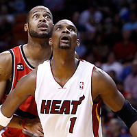 08 March 2011: Portland Trail Blazers power forward Marcus Camby (23) vies with Miami Heat power forward Chris Bosh (1) during the Portland Trail Blazers 105-96 victory over the Miami Heat at the AmericanAirlines Arena, Miami, Florida, USA.