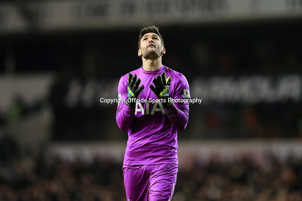 1 January 2015 - Barclays Premier League - Tottenham Hotspur v Chelsea - Hugo Lloris of Tottenham Hotspur reacts as Danny Rose scores a goal - Photo: Marc Atkins / Offside.