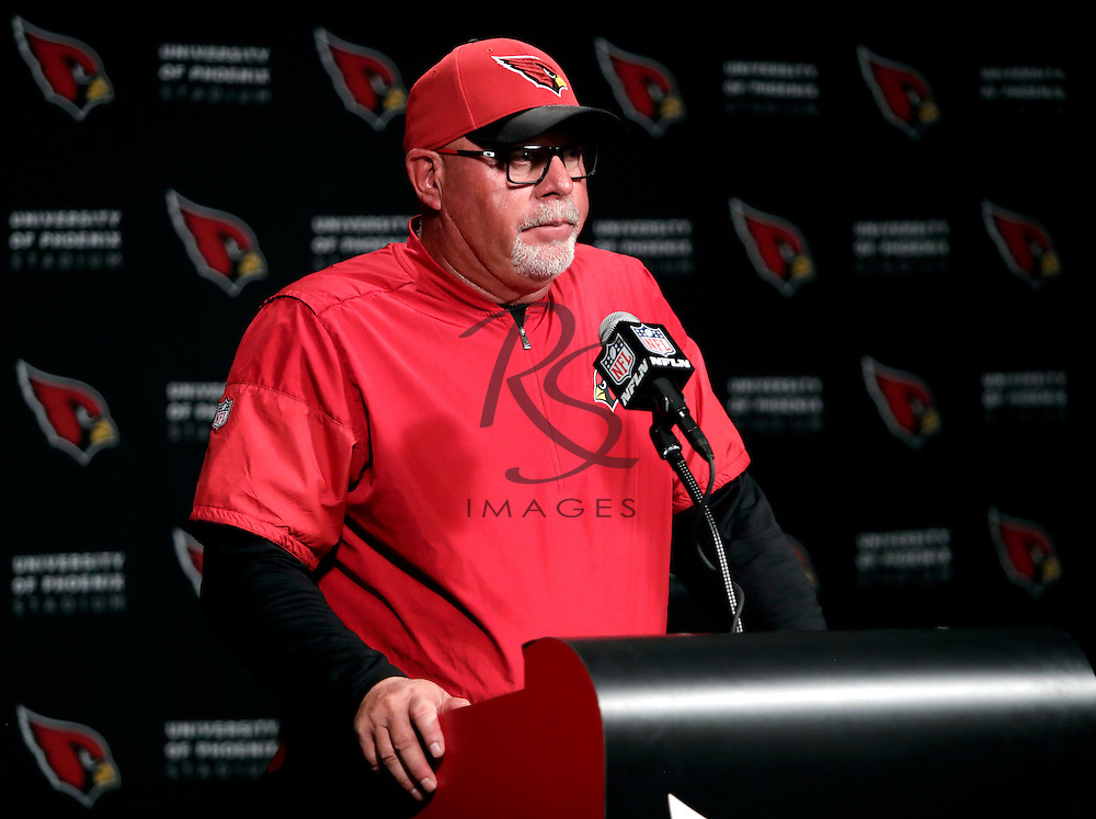 Arizona Cardinals head coach Bruce Arians speaks after an NFL football game against the Washington Redskins, Sunday, Dec. 4, 2016, in Glendale, Ariz. The Cardinals won 31-23. (AP Photo/Rick Scuteri)