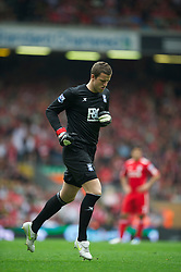 LIVERPOOL, ENGLAND - Saturday, April 23, 2011: Birmingham City's substitute goalkeeper Colin Doyle during the Premiership match against Liverpool at Anfield. (Photo by David Rawcliffe/Propaganda)