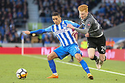 Brighton and Hove Albion midfielder Anthony Knockaert (11) tackled by Coventry City player Ryan Haynes (24) during the The FA Cup match between Brighton and Hove Albion and Coventry City at the American Express Community Stadium, Brighton and Hove, England on 17 February 2018. Picture by Phil Duncan.