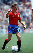 Emilio Butragueno of Spain in action during the World Cup in Mexico, 7th June 1986. Spain v Northern Ireland