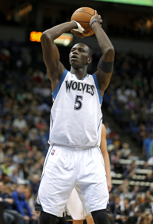 Nov 1, 2014; Minneapolis, MN, USA; Minnesota Timberwolves center Gorgui Dieng (5) against the Chicago Bulls at Target Center. The Bulls defeated the Timberwolves 106-105. Mandatory Credit: Brace Hemmelgarn-USA TODAY Sports