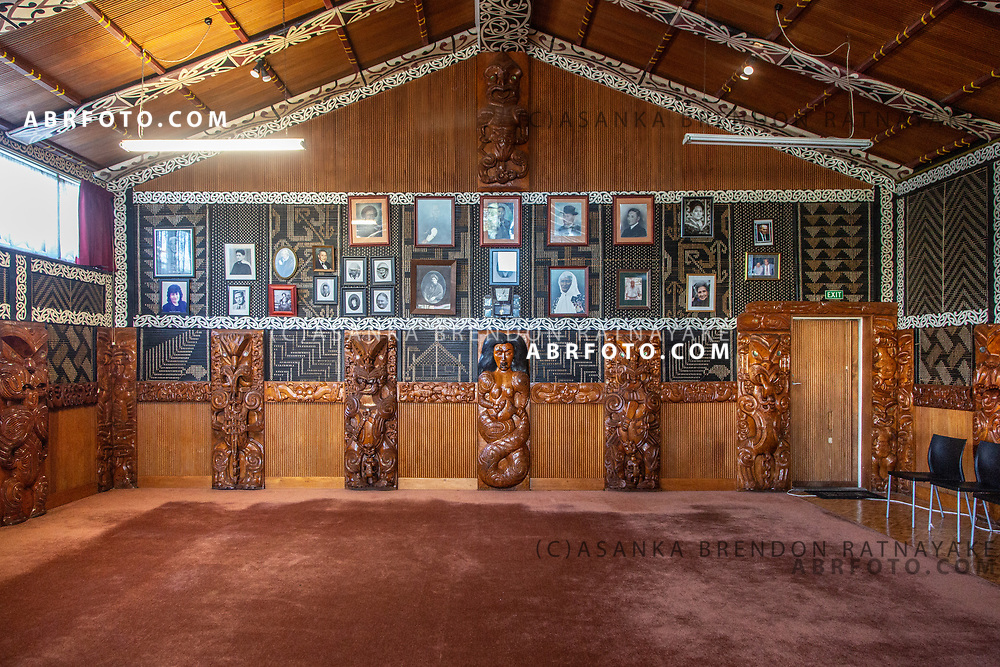 'Poupou' or Maori woodcarvings inside the ceremonial hall of the Te Puea Marae in South Auckland on the 7th of June 2018. A Marae is a meeting place for the Maori community, in recent years the Te Puea Marae has assisted the homeless Maori community in the area as well as offered assistance with social services. Asanka Brendon Ratnayake for The New York Times.