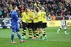 15.02.2014, Signal Iduna Park, Dortmund, GER, 1. FBL, Borussia Dortmund vs Eintracht Frankfurt, 21. Runde, im Bild Die Dortmunder Spieler um Pierre-Emerick Aubameyang (Borussia Dortmund #17) feiern den Torschuetzen zum 3:0 Robert Lewandowski (Borussia Dortmund #9) mit Torwart Kevin Trapp (Eintracht Frankfurt #1), Marc-Oliver Kempf (Eintracht Frankfurt #36) enttaeuscht // during the German Bundesliga 21th round match between Borussia Dortmund and Eintracht Frankfurt at the Signal Iduna Park in Dortmund, Germany on 2014/02/15. EXPA Pictures © 2014, PhotoCredit: EXPA/ Eibner-Pressefoto/ Schueler<br /> <br /> *****ATTENTION - OUT of GER*****
