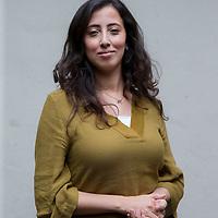 Nederland, Amsterdam, 13 mei 2017.<br /> islamitische feministes geportretteerd buiten bibliotheek Atria in de Vijzelstraat.<br /> Op de foto: Jamila Mejdoubi, onderzoeker bij Atria, kennisinstituut voor emancipatie en vrouwengeschiedenis van Marokkaanse afkomst.<br /> <br /> <br /> <br /> Foto: Jean-Pierre Jans