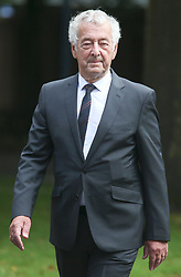 © Licensed to London News Pictures. 09/08/2017. Warrington, UK. former police officer Alan Foster arrives at Warrington Magistrates Court. Former West Yorkshire Police Chief Sir Norman Bettison, former police officers Donald Denton and Alan Foster, South Yorkshire Police solicitor Peter Metcalf, and former Sheffield Wednesday secretary and safety officer Graham Mackrell are appearing at Warrington Magistrates Court today to face charges relating to the Hillsborough tragedy where 96 people died in 1989. Photo credit: Andrew McCaren/LNP