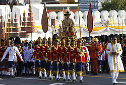 May 5, 2019 - Bangkok, Thailand - Thailand's King Maha Vajiralongkorn Bodindradebayavarangkun (Rama X) is carried in a golden palanquin during the coronation procession on land to encircle the city to give the people the opportunity to attend and pay homage to their new King. (Credit Image: © Chaiwat Subprasom/SOPA Images via ZUMA Wire)
